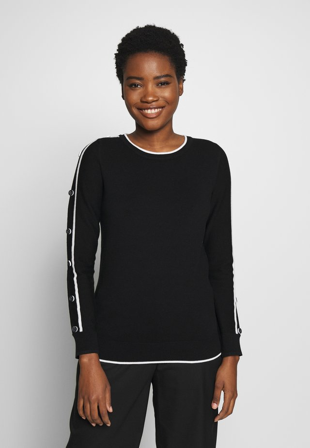 TIPPED BUTTON SLEEVE JUMPER - Sweter - black