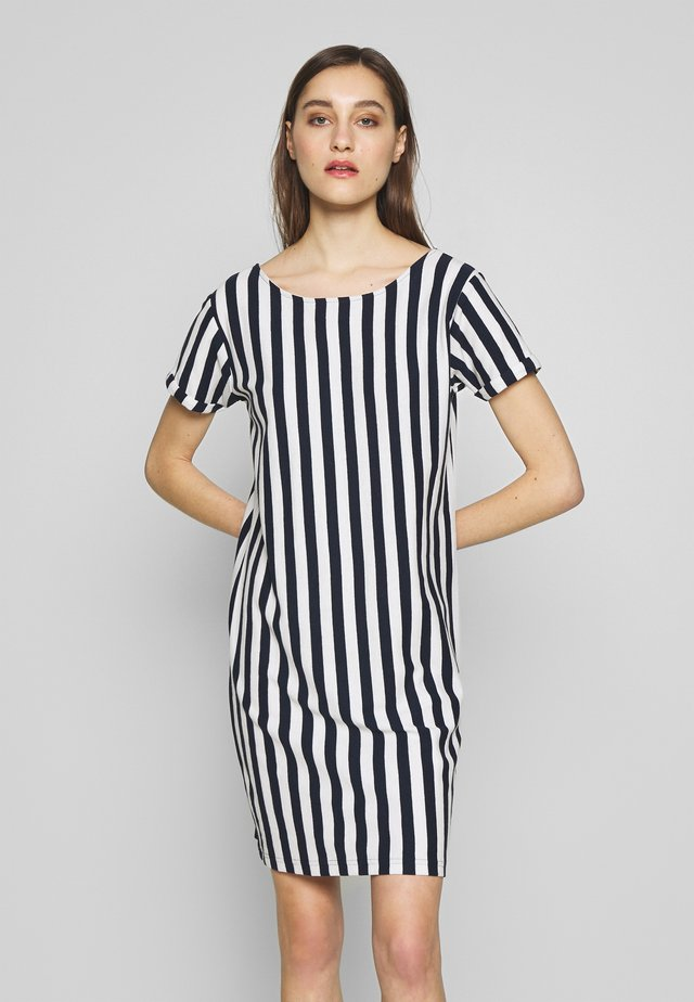 LONER STRIPED - Freizeitkleid - off white/navy blue