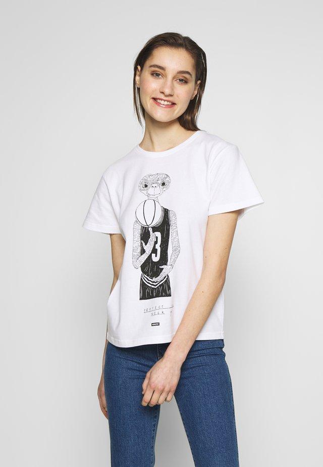 NECK TEE - T-shirt med print - white