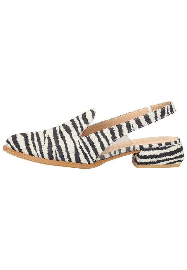 WONDERS HALBSCHUHE - Slingback ballet pumps - zebra/vini white