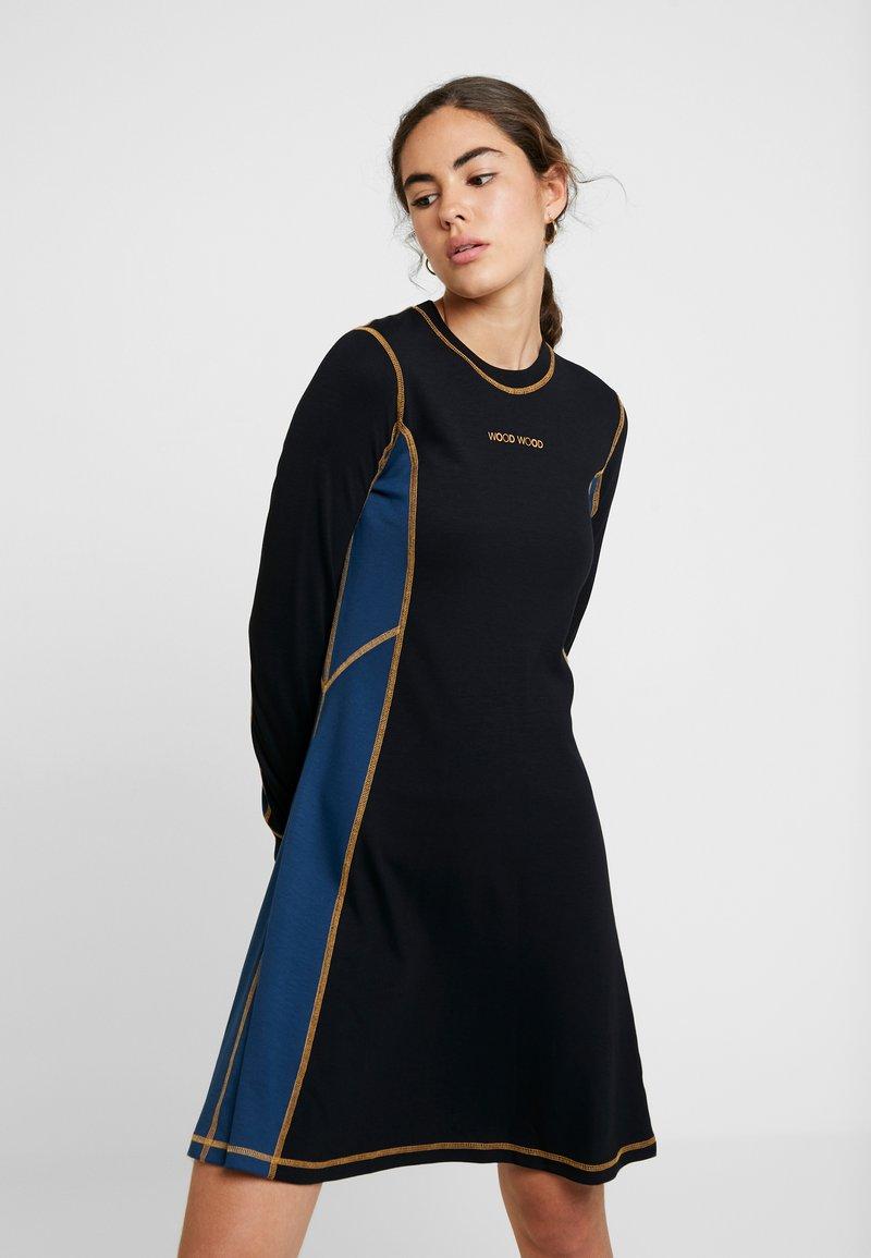 Wood Colorblock Mandy DressRobe En Jersey Black 43R5AjL