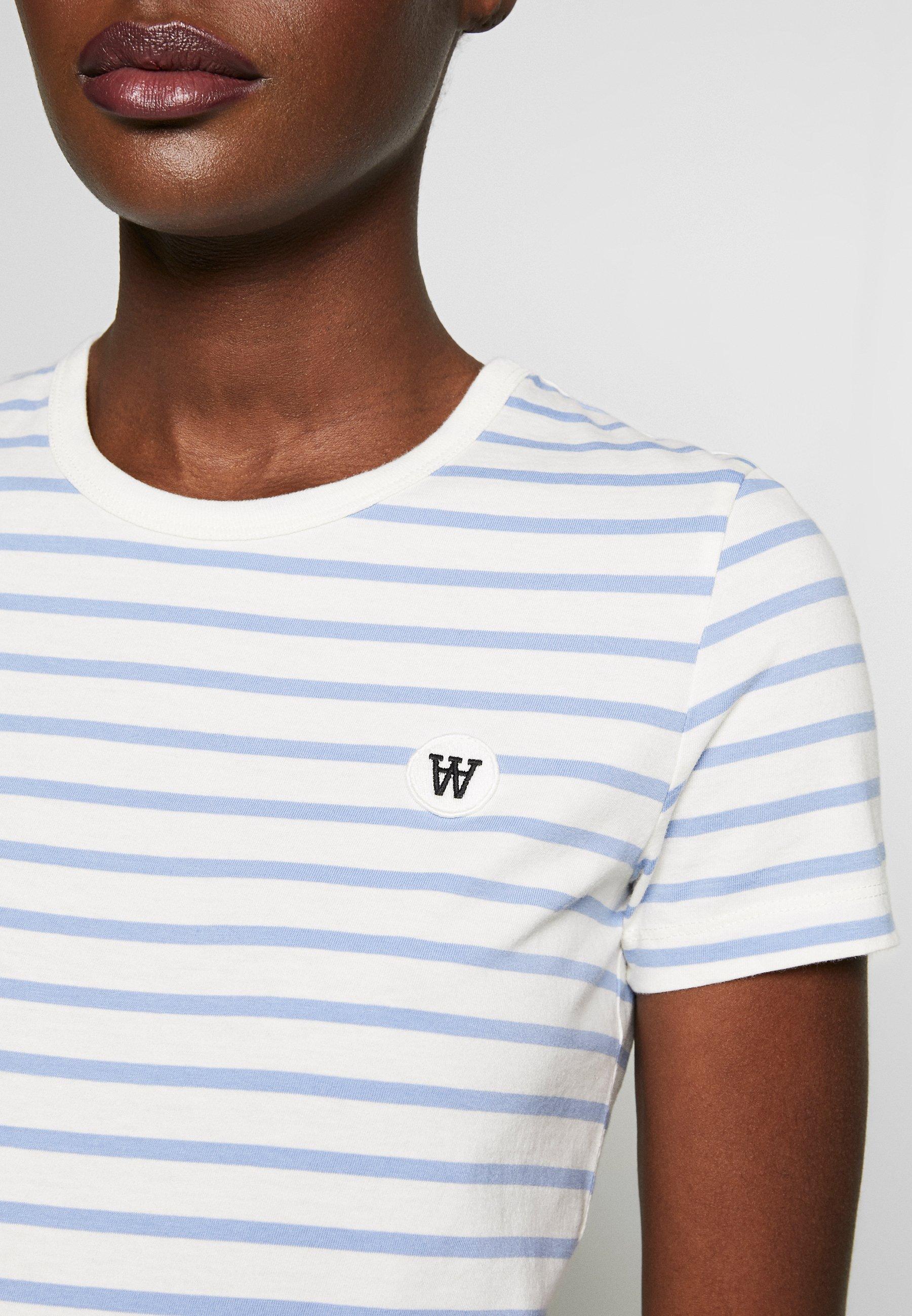 Wood Uma - T-shirt Med Print Off-white/blue Stripes