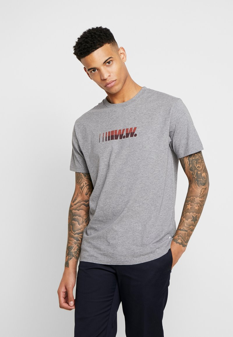 Wood Wood - SPLIT - Print T-shirt - grey melange