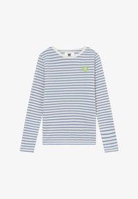 off-white/blue stripes