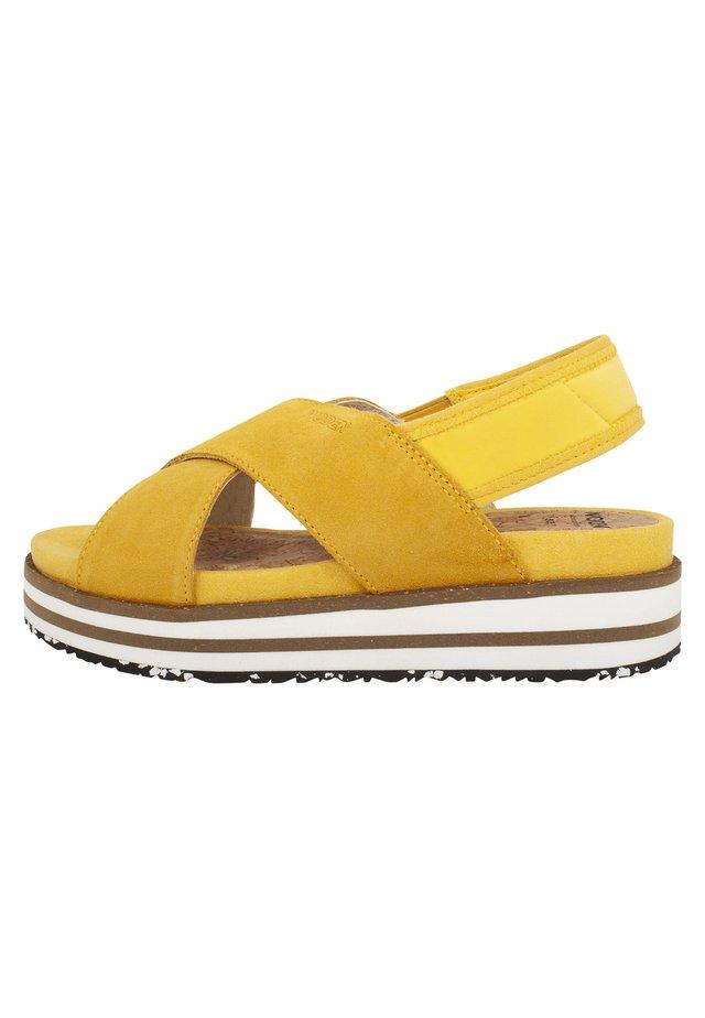 CAROLINE - Plateausandaler - gelb