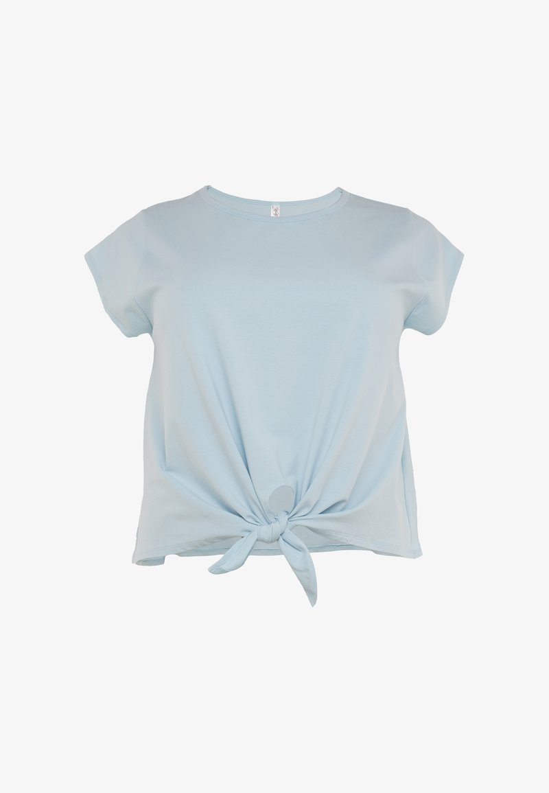 Wolf & Whistle - TIE FRONT CURVE - T-shirt con stampa - Light blue