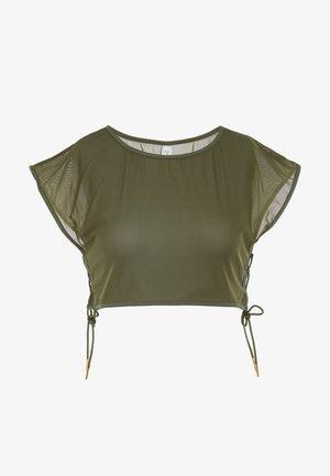 CROP  - Print T-shirt - khaki