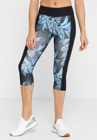 Wolf & Whistle - PRINTED CROP LEGGINGS - 3/4 sports trousers - black/blue - 0