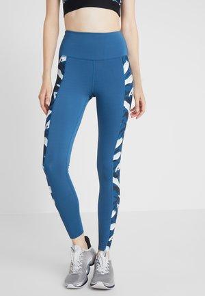 HIGH WAIST ABSTRACT PRINT PANEL - Collants - blue