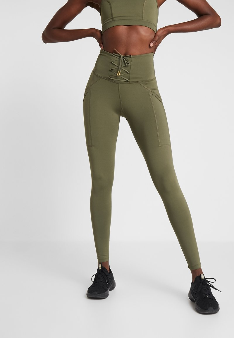 Wolf & Whistle - LACE UP LEGGINGS - Tights - khaki