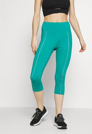 EXCLUSIVE CROPPED LEGGINGS WITH REFLECTIVE STRIPS - Punčochy - teal