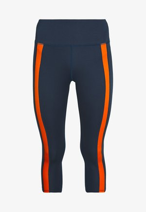 CONTRAST PANEL CYCLING SHORTS - 3/4 sports trousers - navy/orange