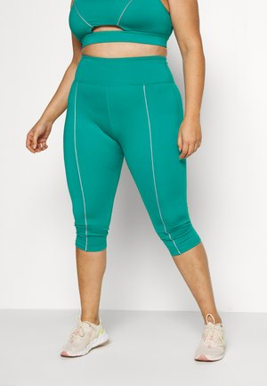 EXCLUSIVE LEGGINGS WITH REFLECTIVE STRIPS - 3/4 sportovní kalhoty - teal