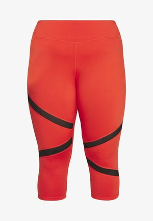 EXCLUSIVE CROPPED PANEL LEGGINGS - Pantalón 3/4 de deporte - red