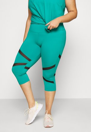 EXCLUSIVE CROPPED PANEL LEGGINGS - 3/4 sportsbukser - teal