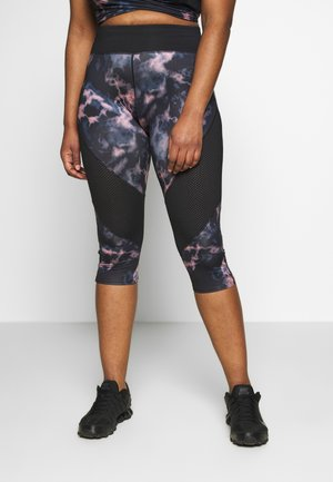 DARK MARBLE CROPPED LEGGING WITH AIRTEX PANELS CURVE - Pantalón 3/4 de deporte - black
