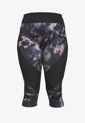 DARK MARBLE CROPPED LEGGING WITH AIRTEX PANELS CURVE - Pantalon 3/4 de sport - black