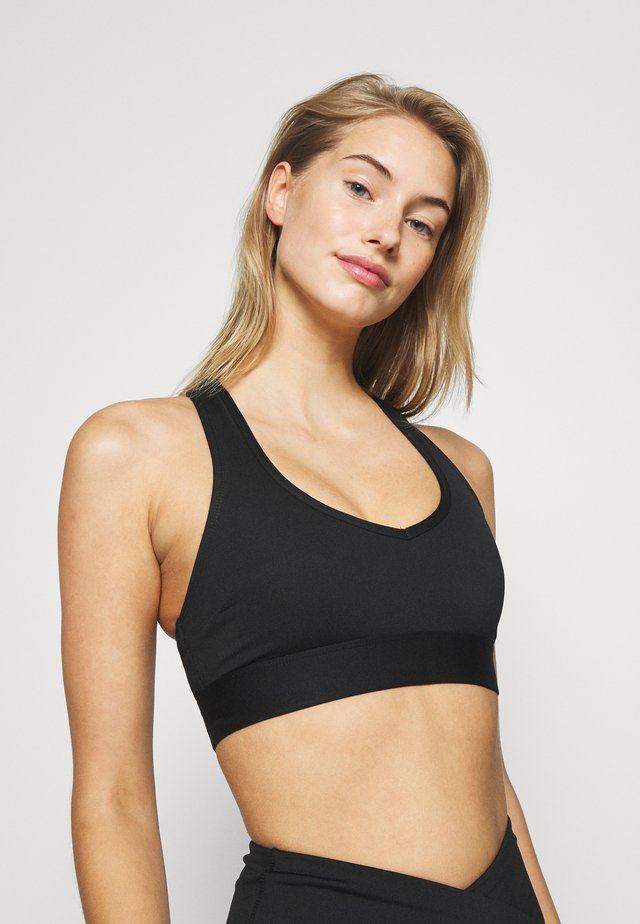 V NECK SPORTS BRA WITH TRIANGLE BACK DETAIL CORE - Sport-bh - black