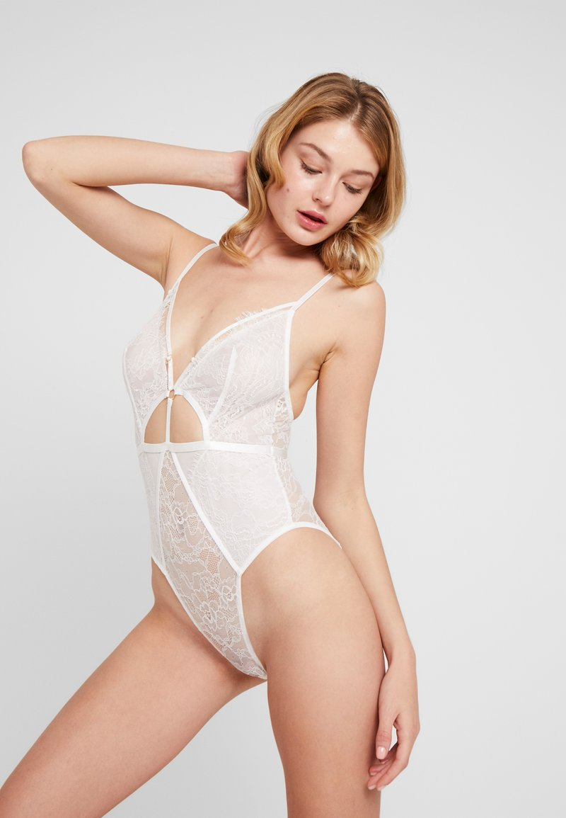 Wolf & Whistle - EYELASH CUT OUT STRAPPY HIGH LEG PLUNGE - Body - ivory