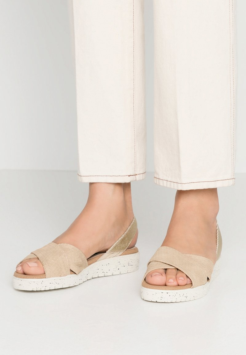 Wonders Green - Sandals - gaz nata/beige