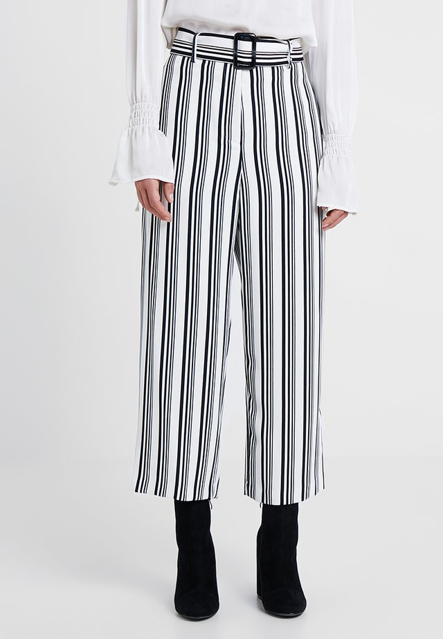 MONO STRIPE BELTED TROUSERS - Trousers - black