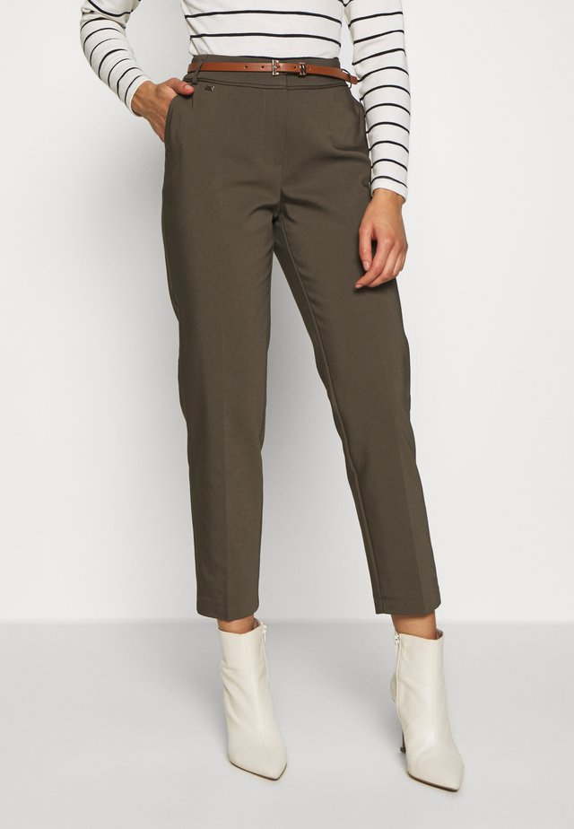 DOUBLE FACED BELTED CIGARETTE - Stoffhose - khaki