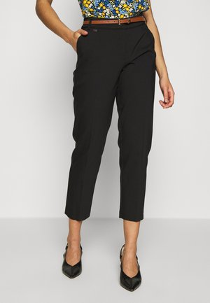 DOUBLE FACED BELTED CIGARETTE - Pantalones - black
