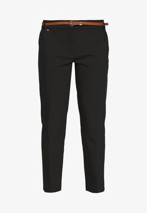 DOUBLE FACED BELTED CIGARETTE - Pantaloni - black