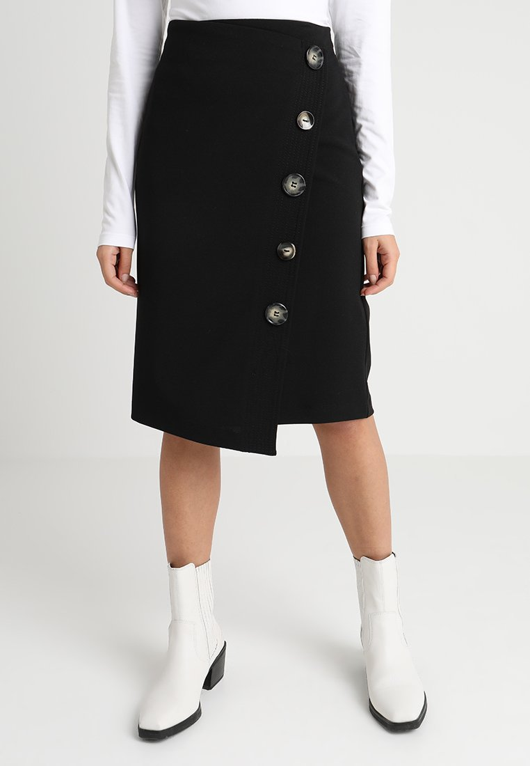 Wallis Petite - WRAP MIDI BUTTON SKIRT - Wikkelrok - black