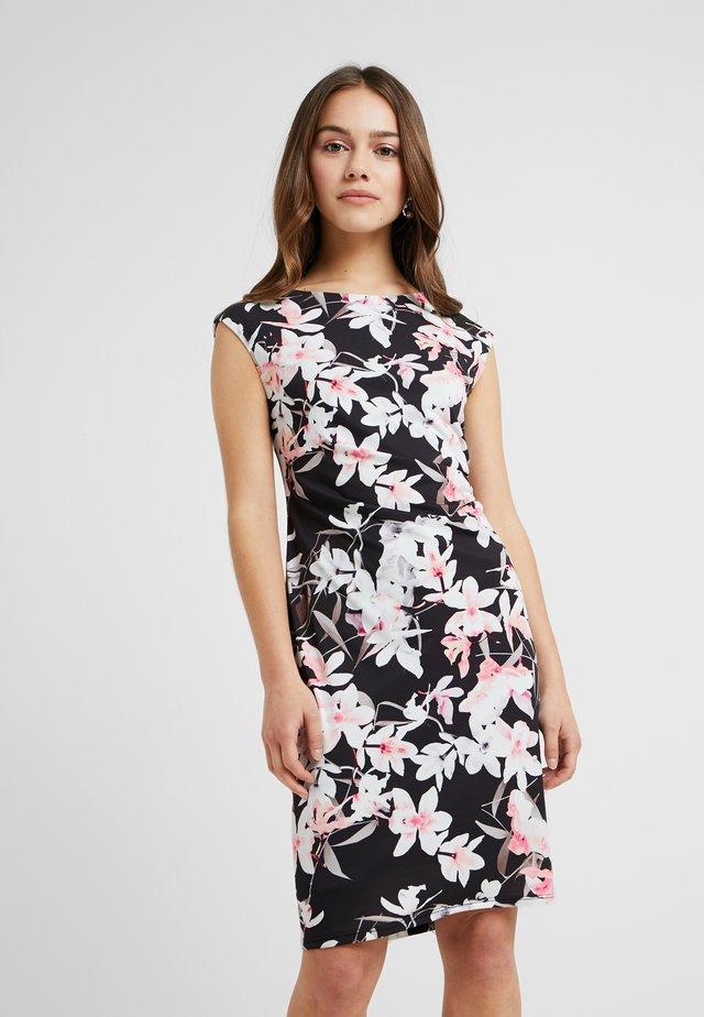 ORCHID RUCHE SIDE DRESS - Shift dress - black