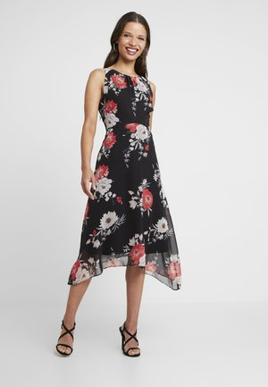 EVENT BIRD PRINT TIERED DRESS - Iltapuku - black