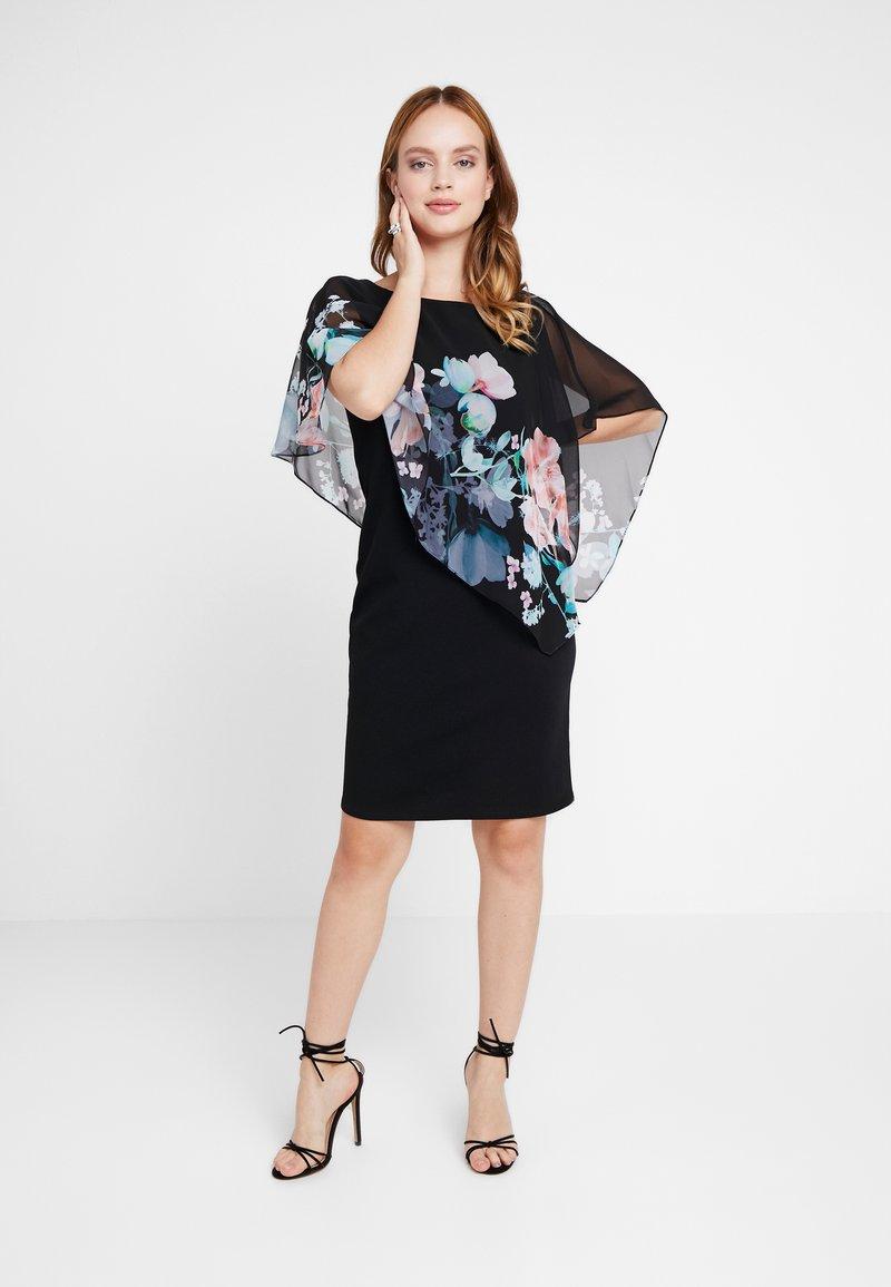 Wallis Petite - ORIENTAL FLORAL OVERLAYER DRESS - Etuikjoler - black