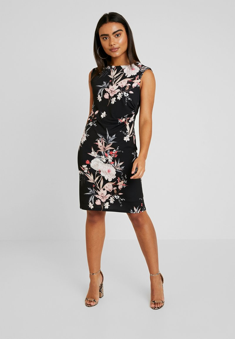 Wallis Petite - EVENT BIRD RUCHE SIDE DRESS BLACK - Sukienka z dżerseju - black