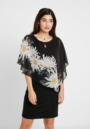 SPACED FLORAL OVERLAYER DRESS - Kjole - black
