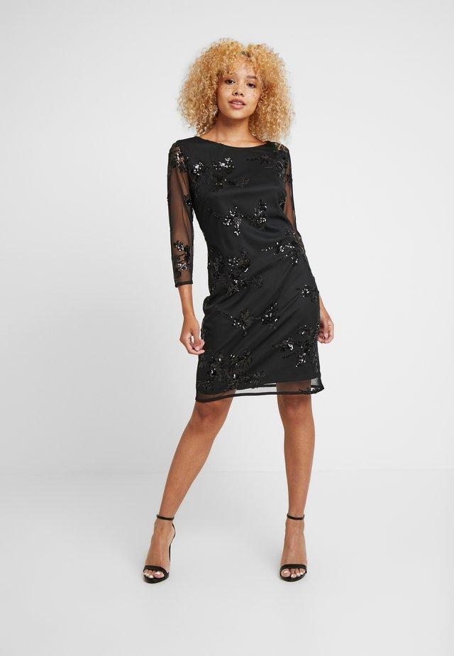 FLORAL SEQUIN DRESS - Cocktail dress / Party dress - black