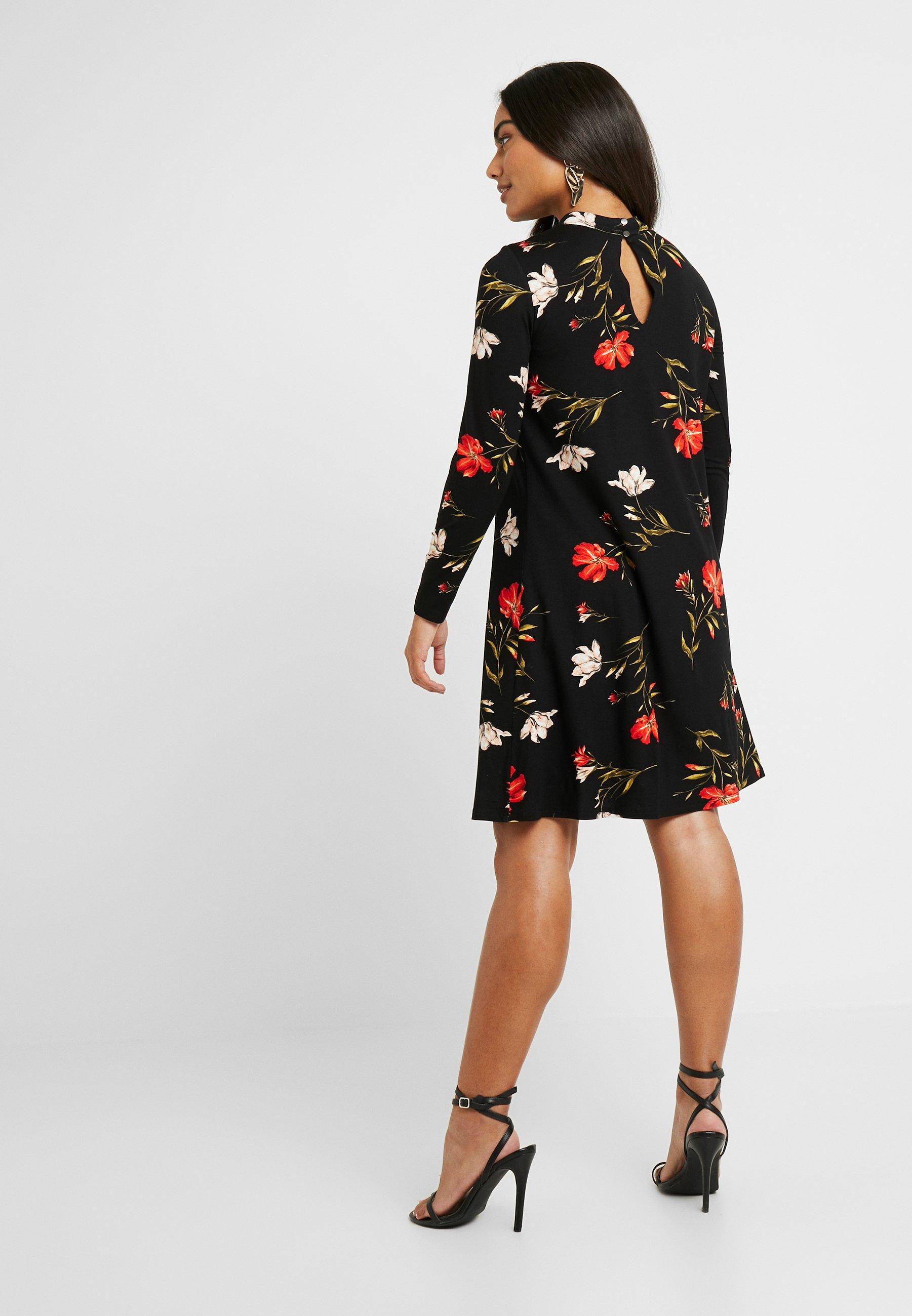 Wallis Petite FLORAL ITY HIGH NECK SWING DRESS - Sukienka z dżerseju - red