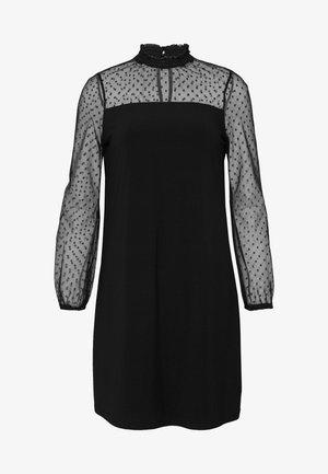 PETITE SHIRRED NECK DOBBY SWING DRESS - Day dress - black