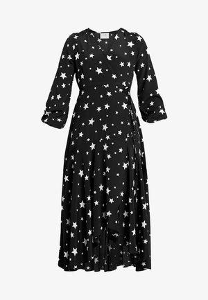 STAR WRAP MIDI DRESS - Vestido largo - black