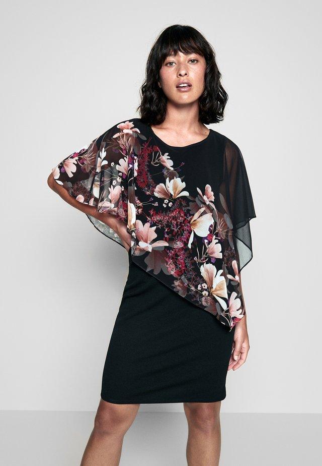 FLORAL OVERLAYER DRESS - Day dress - black