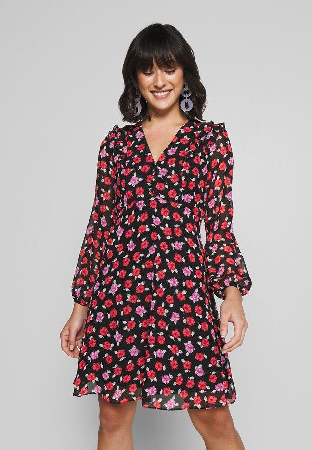 ROSEY RUFFLE MINI DRESS - Sukienka letnia - black