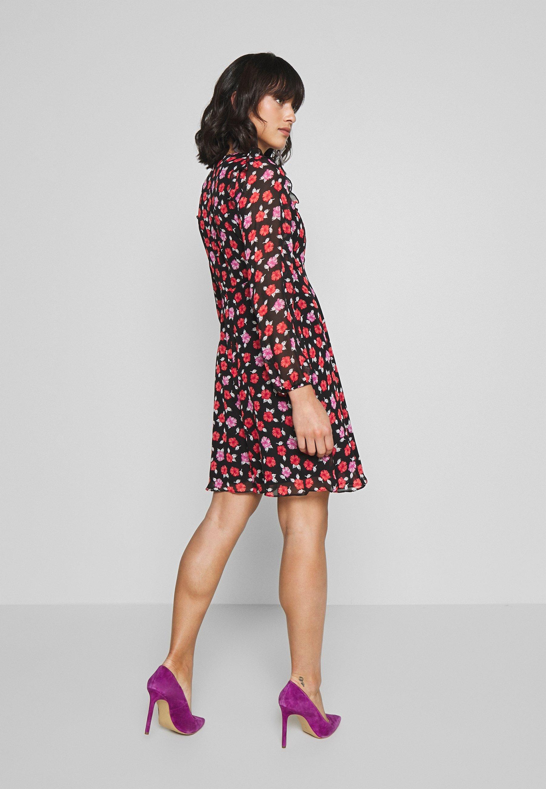 Wallis Petite ROSEY RUFFLE MINI DRESS - Sukienka letnia - black