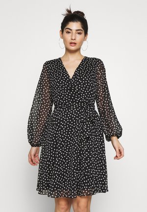 SPOT WRAP FIT AND FLARE DRESS - Vestido informal - black