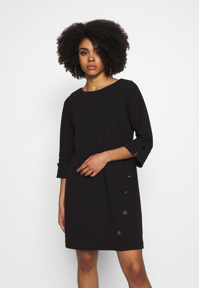 BUTTON SHIFT DRESS - Freizeitkleid - black