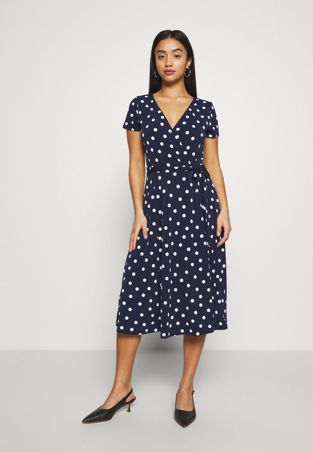 SPOT WRAP CAP SLEEVE DRESS - Vestido ligero - ink
