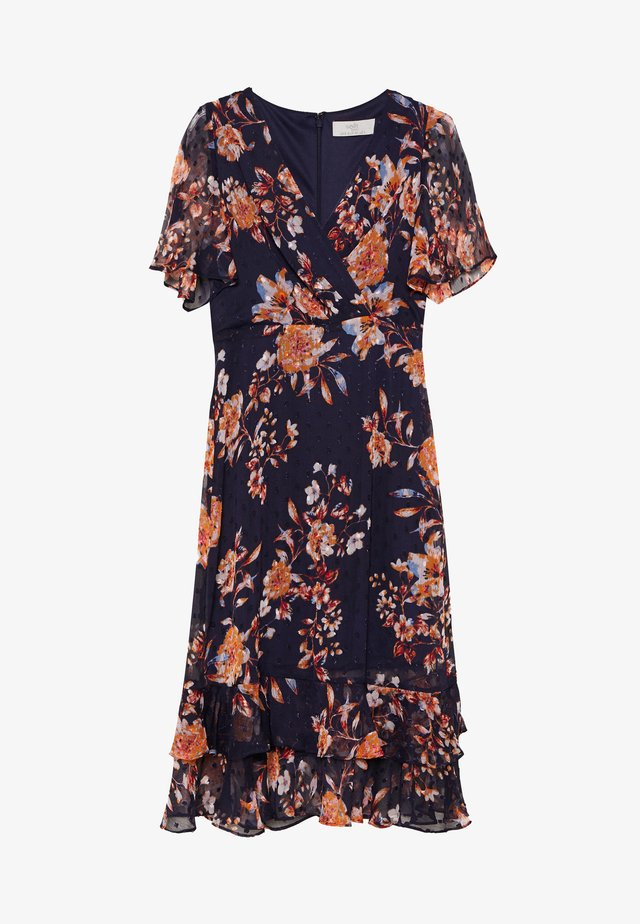 FLORAL DOBBY MIDI DRESS - Freizeitkleid - ink