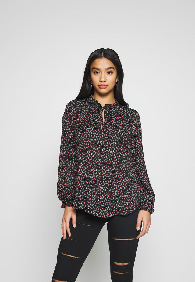 MONO FLASH HEART PRINT - Blouse - black
