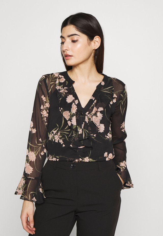 FLORAL PRINT RUFFLE TOP - Blouse - black