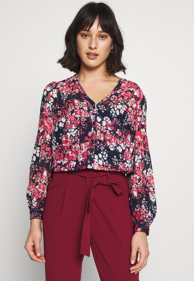CLUSTER FLORAL RUFFLE - Blouse - ink