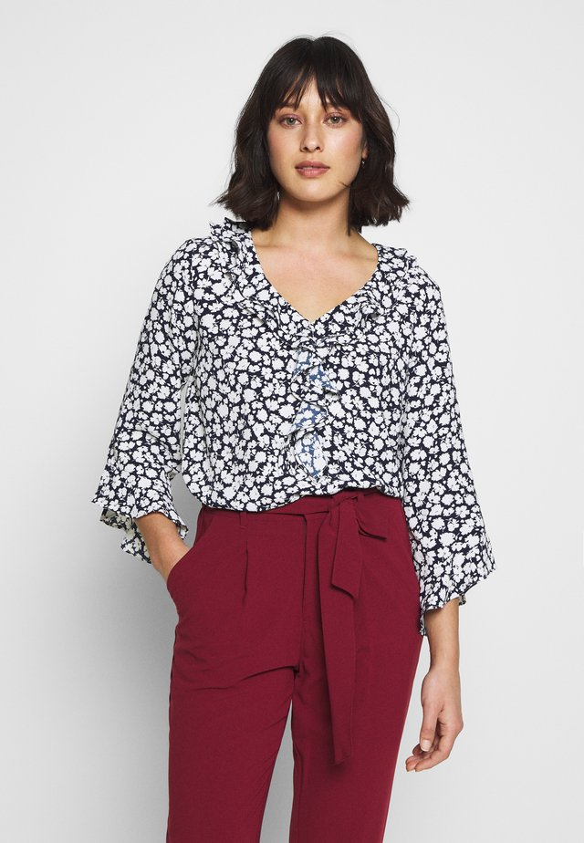 FLORAL SILHOUTTE TOP - Blouse - ink