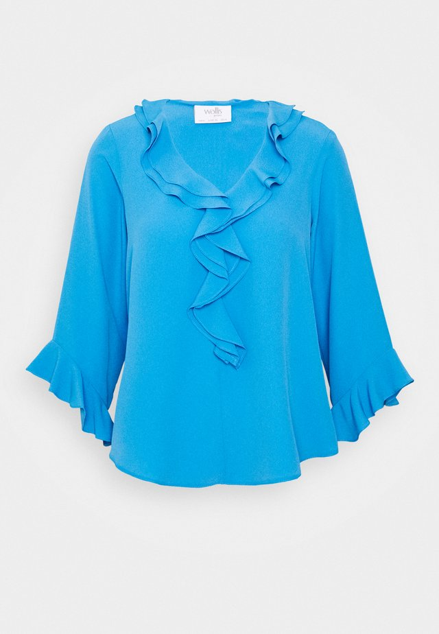RUFFLE FRONT - Bluzka - blue